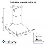 Hood dome Minola DKS 6754 WH 1100 LED GLASS