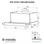 Telescopic hood Minola HTL 6734 WH 1100 LED GLASS