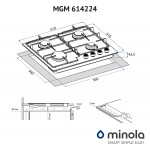 Gas surface on metal Minola MGM 614224 WH