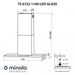 Hood decorative T-shaped Minola TS 6722 I / BL 1100 LED GLASS