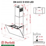 Decorative inclined hood Perfelli DN 6422 D 850 GR LED