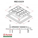 Gas surface on glass Perfelli HGG 61624 WH