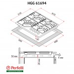 Gas surface on glass Perfelli HGG 61694 WH