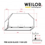 Hood fully built-in WEILOR PBE 6230 GLASS BL 1100 LED
