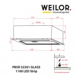 Hood Fully built-in WEILOR PBSR 52301 GLASS WH 1100 LED Strip