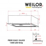 Hood Fully integrated WEILOR PBSR 52651 GLASS WH 1300 LED Strip