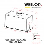 Hood Fully built-in WEILOR PBSR 62301 FULL GLASS WH 1100 LED Strip