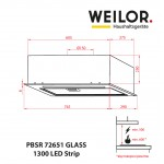 Hood Fully integrated WEILOR PBSR 72651 GLASS WH 1300 LED Strip