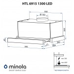 Hood telescopic Minola HTL 6915 BL 1300 LED
