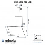 Hood decorative inclined Minola HVS 6232 WH / INOX 700 LED
