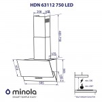 Decorative inclined hood Minola HDN 63112 BL 750 LED
