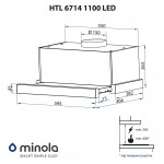 Hood telescopic Minola HTL 6714 BL 1100 LED