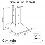 Hood dome Minola DKS 6754 BL 1100 LED GLASS