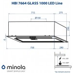 Fully Built-In Hood Minola HBI 7664 BL GLASS 1000 LED Line