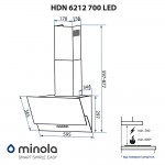 Decorative inclined hood Minola HDN 6212 BL 700 LED