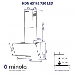 Decorative inclined hood Minola HDN 63102 BL 750 LED