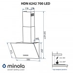 Decorative inclined hood Minola HDN 6242 BL 700 LED