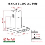 Hood decorative T-shaped Perfelli TS 6723 B 1100 BL LED Strip