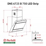 Decorative Incline Hood Perfelli DNS 6723 B 1100 BL LED Strip