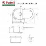 Granite kitchen sink Perfelli IZETTA OGI 1141-78 BLACK METALLIC