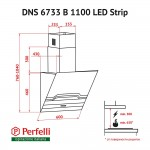 Decorative Incline Hood Perfelli DNS 6733 B 1100 BL/I LED Strip