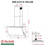 Hood decorative inclined Perfelli DNS 6252 D 700 WH LED
