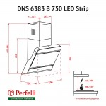 Витяжка декоративна похила Perfelli DNS 6383 B 750 BL LED Strip