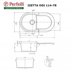 Granite kitchen sink Perfelli IZETTA OGI 114-78 LIGHT BEIGE