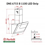 Decorative Incline Hood Perfelli DNS 6753 B 1100 WH/BL LED Strip
