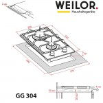 Gas surface Domino on glass WEILOR GG 304 BL