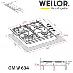 Gas surface on metal WEILOR GM W 634 BL