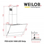 Decorative inclined hood WEILOR PDS 6230 BL 1000 LED Strip