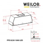 Fully Built-in Hood WEILOR PPE 8230 SS 1000 LED