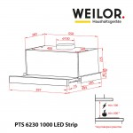 Telescopic Hood WEILOR PTS 6230 WH 1000 LED Strip