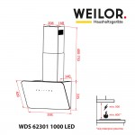 Decorative inclined hood WEILOR WDS 62301 R BL 1000 LED