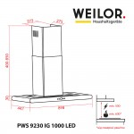 Hood decorative T-shaped WEILOR PWS 9230 IG 1000 LED