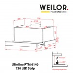 Telescopic Hood WEILOR Slimline PTM 6140 SS 750 LED Strip