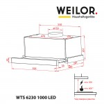 Telescopic Hood WEILOR WTS 6230 BL 1000 LED Strip