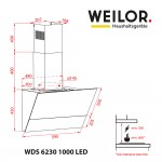 Decorative inclined hood WEILOR WDS 6230 BL 1000 LED