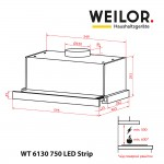 Telescopic Hood WEILOR WT 6130 I 750 LED Strip