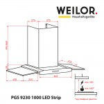 Decorative with glass hood WEILOR PGS 9230 IG 1000 LED Strip