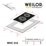 Glass ceramic surface Domino WEILOR WHC 332 BLACK