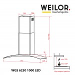 Decorative with glass hood WEILOR WGS 6230 SS 1000 LED
