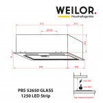 Fully built-in Hood WEILOR PBS 52650 GLASS WH 1250 LED Strip