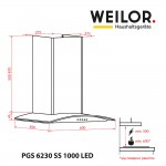 Decorative with glass hood WEILOR PGS 6230 SS 1000 LED