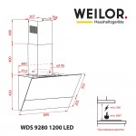 Decorative inclined hood WEILOR WDS 9280 BL 1200 LED